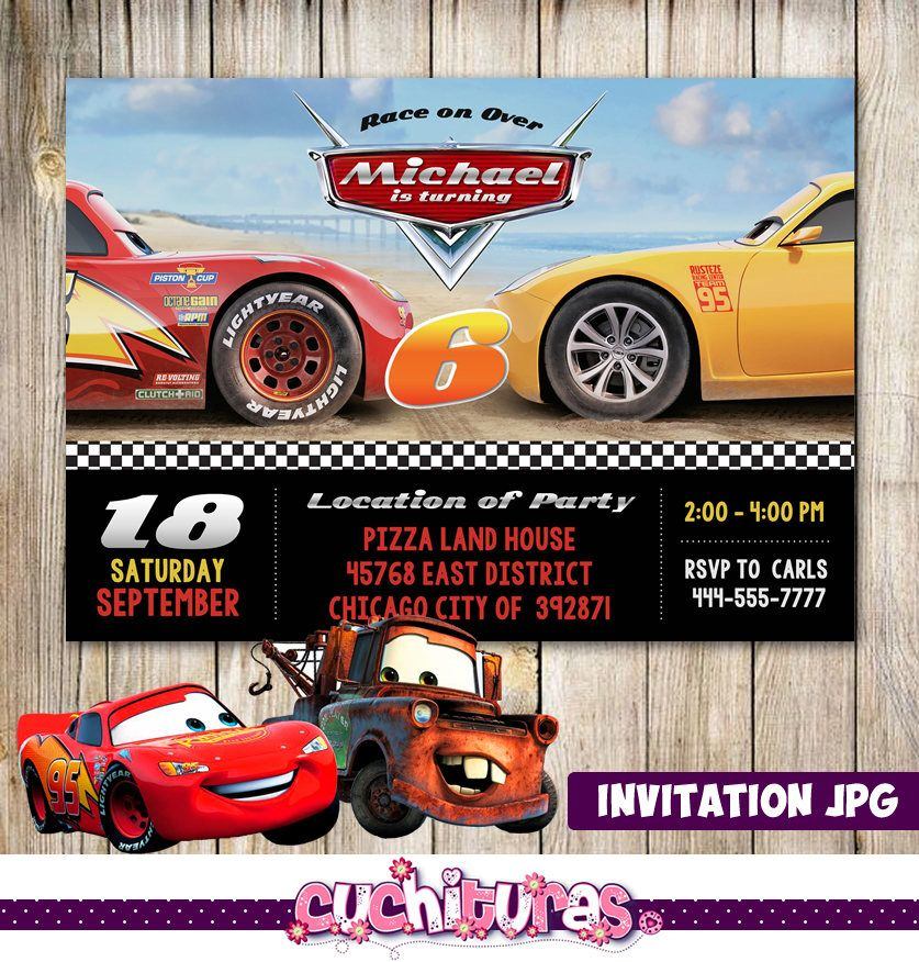 Disney Cars Invitation Disney Cars Party Disney Cars Birthday