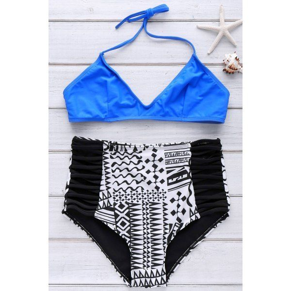 a044a919b4 Stylish Spaghetti Strap High Waist Printed Bikini Set For Women - Deep Blue  S
