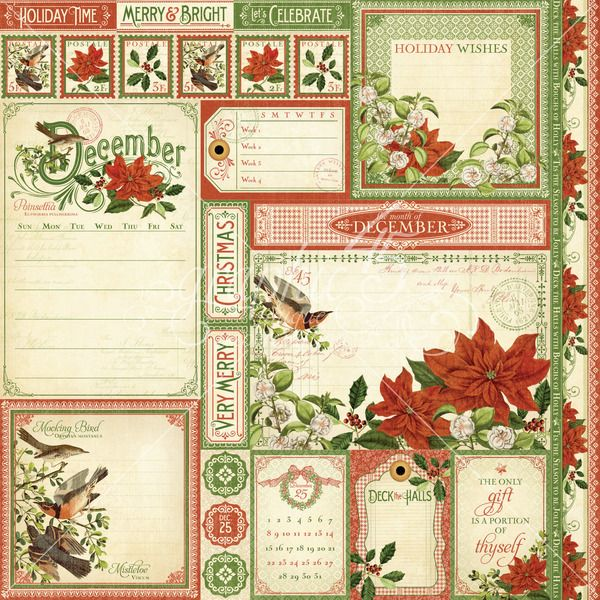 Paper Crafts > Paper > Graphic 45 > December Cut Apart Paper - Time To Flourish - Graphic 45: A ...