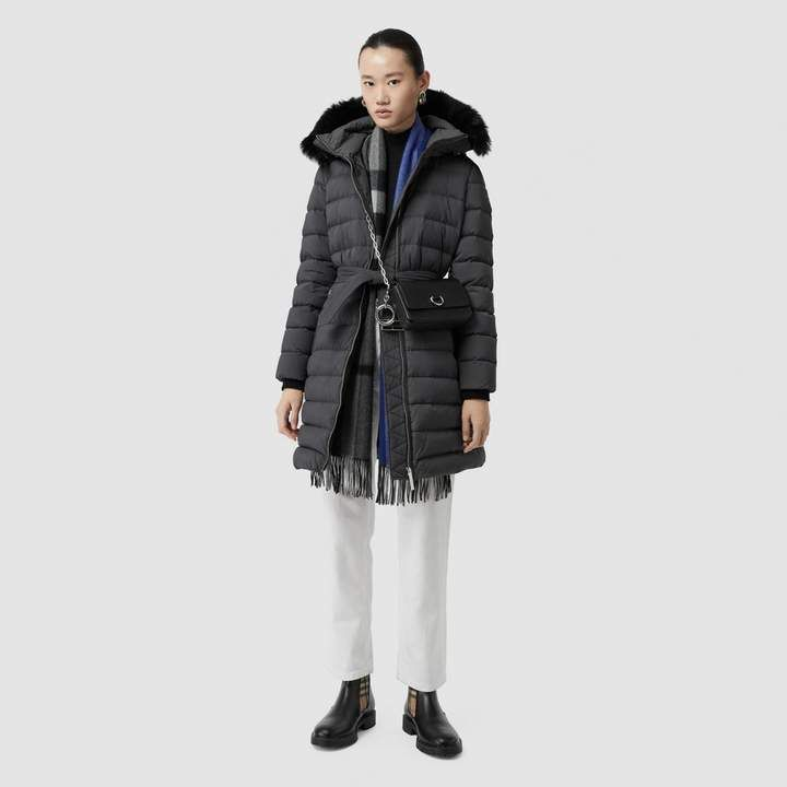 8e4ae6655bc Detachable Shearling Trim Down-filled Puffer Coat in Mid Grey ...