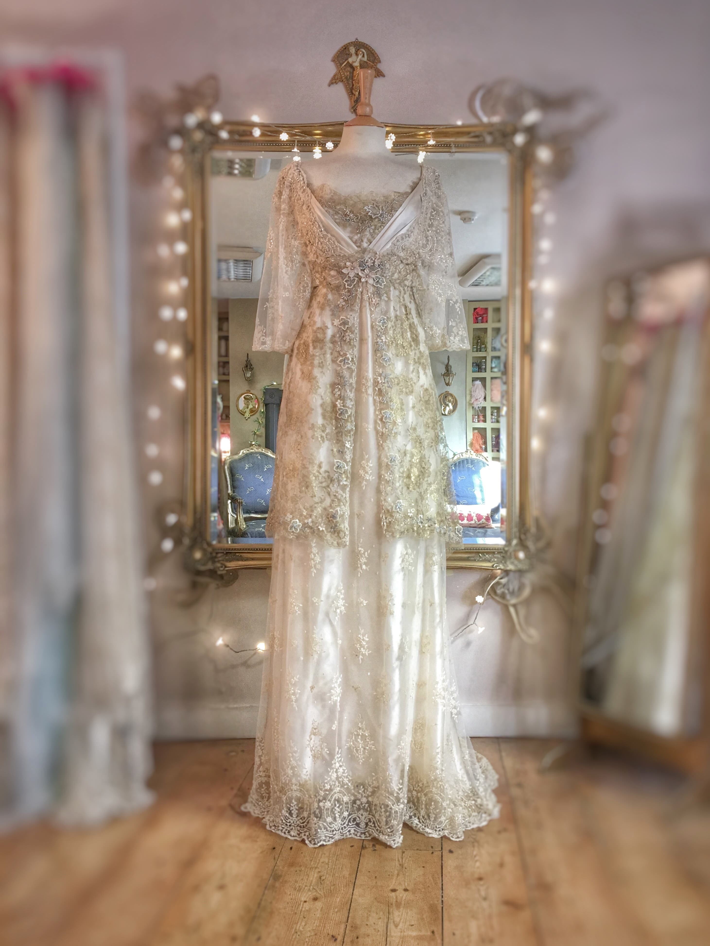 Pale gold cream silk edwardian inspired wedding dress gold lace