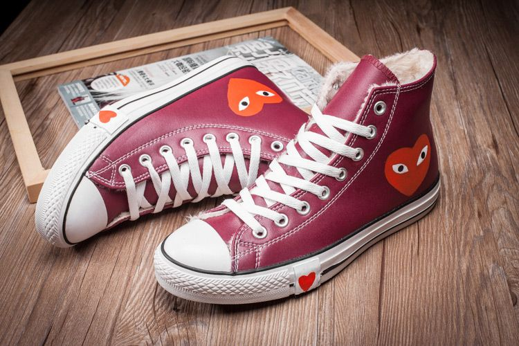 dcbc904b557 Converse Comme des Garcons Play Fleece All Star Red Leather High Winter  Shoes  converse  shoes