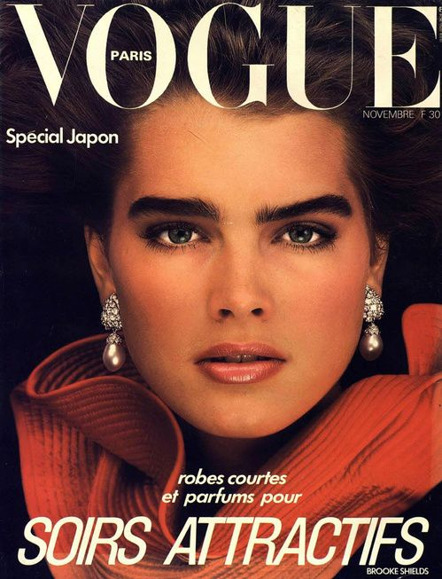 ford models on the cover of vogue paris brooke shields. Black Bedroom Furniture Sets. Home Design Ideas