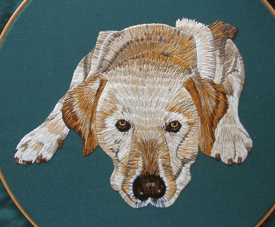 This dog portrait was worked from the RSN's Embroidery Techniques book…