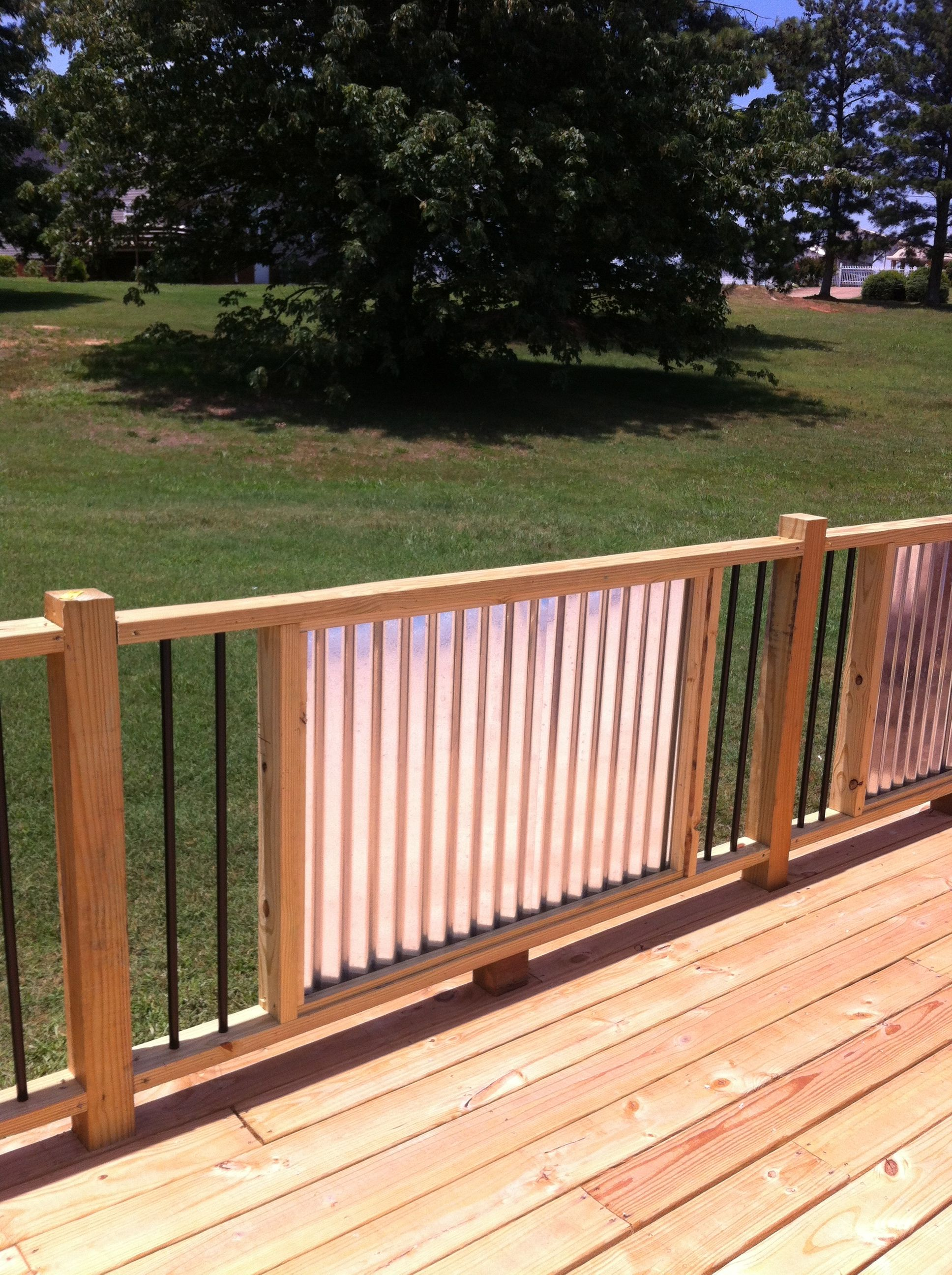 My New Railings Corrugated Metal And Metal Balusters My Husband Is A Genius Landscape Timbers Front Yard Fence Corrugated Metal Fence