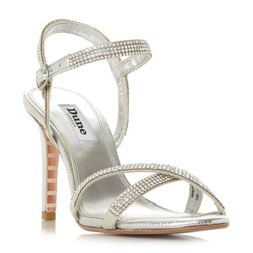 6d34edb0e0 MADALENNA - Cross Strap Mid Heel Sandal - silver | Wedding shoes ...
