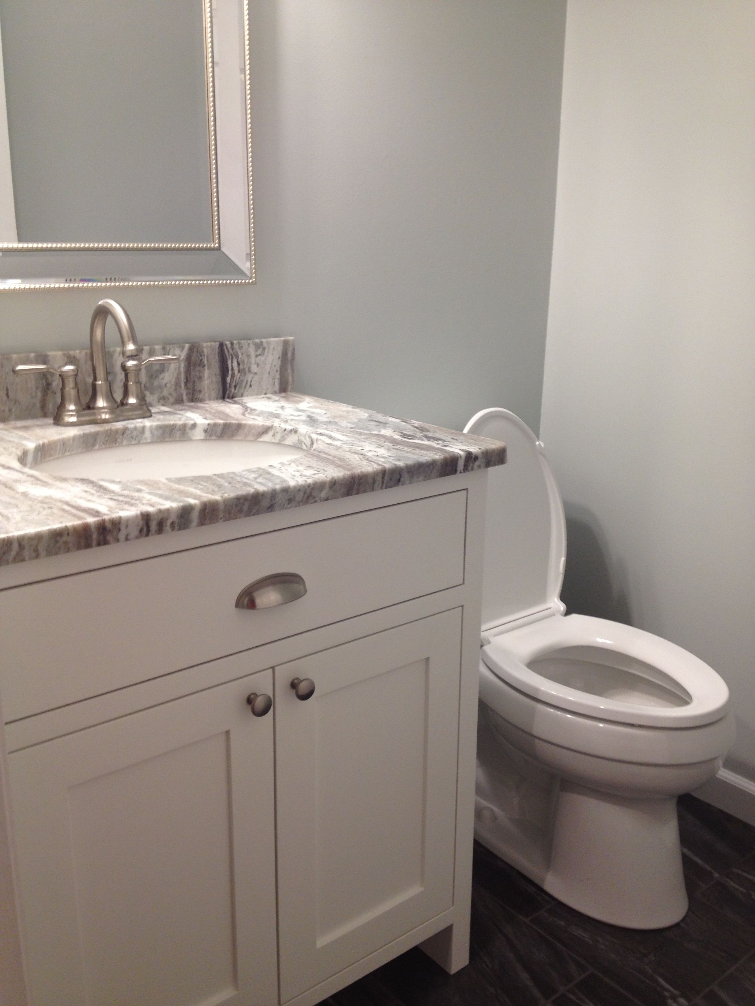 Finally Finished Our Half Bath Fantasy Brown Granite Custom Vanity Painted Bm Simply White