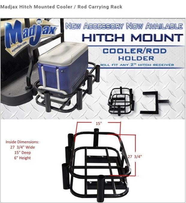 Universal golf cart hitch mounted cooler fishing rod for Hitch fishing rod holder