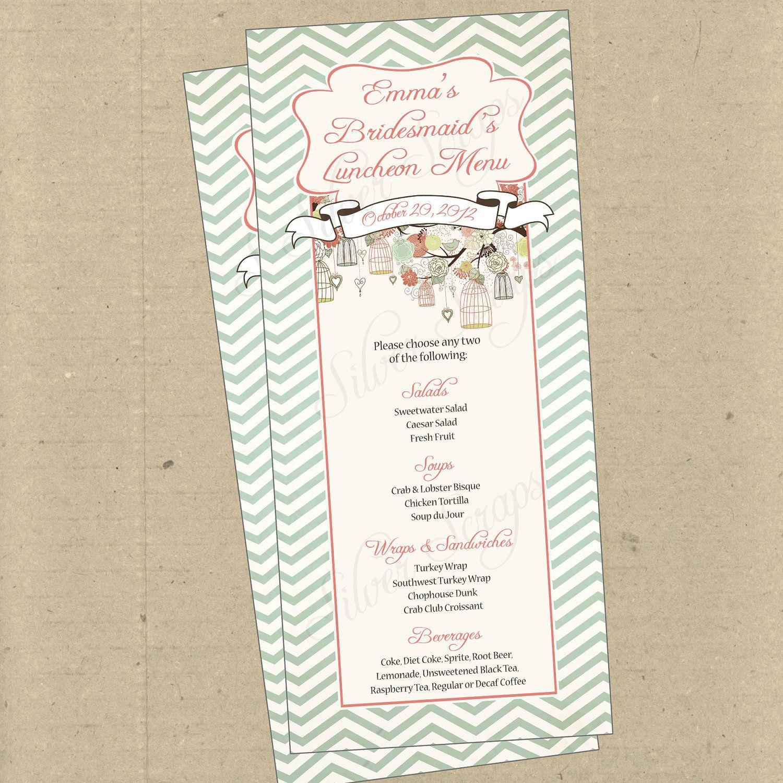 Birdcages birds chevron 2 custom menu card bridal baby shower rehearsal dinner engagement anniversary party bridesmaids luncheon
