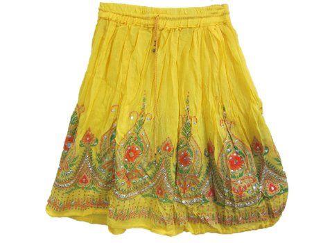Amazon.com: Yellow Skirt Designer Printed Sequin Boho Peasant Gypsy Skirts: Clothing