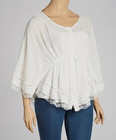Another great find on #zulily! Ivory Lace-Trim Cape-Sleeve Top - Plus #zulilyfinds