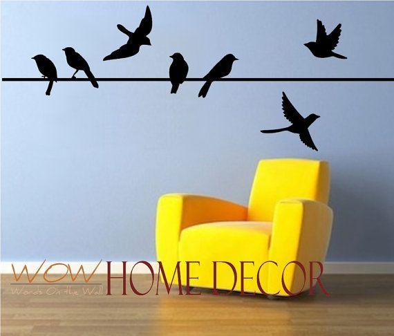 Birds Wall Art vinyl wall art decal - bird on a wire set. bird silhouette. flying