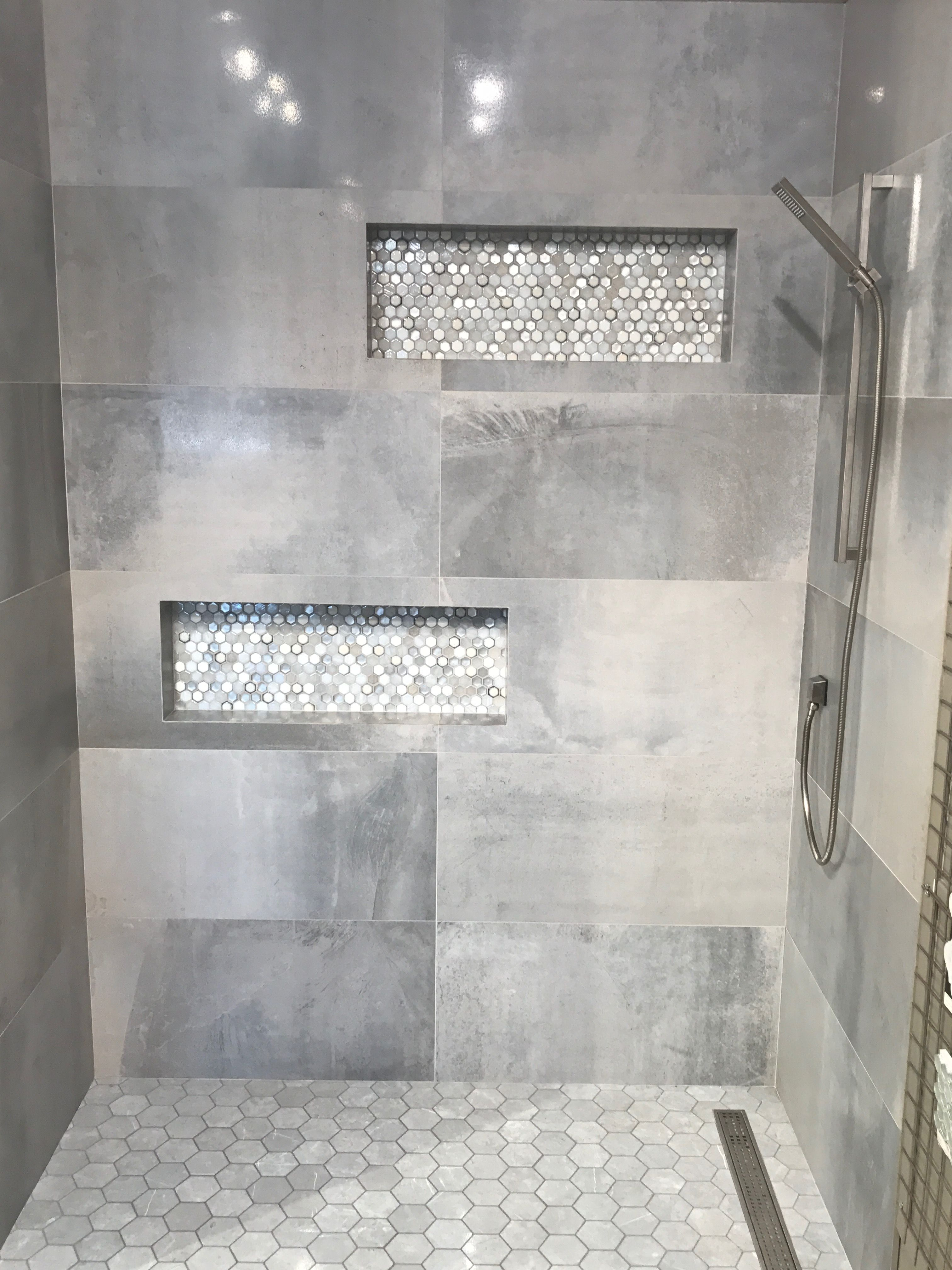 Love the tile in the cut outs and on the floor. Like the wall tile but too dark with this all together for me. Would love something lighter on the walls. #bathroomrenoideas