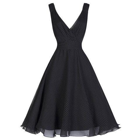 Black White Classic Polka Dot Swing Dress