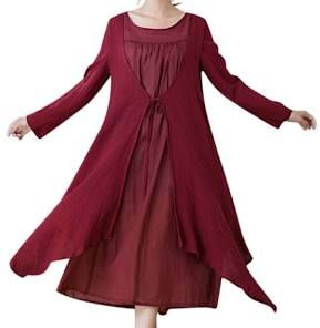 Casual Women Vintage Loose Two Piece Long Sleeve Irregular Dress