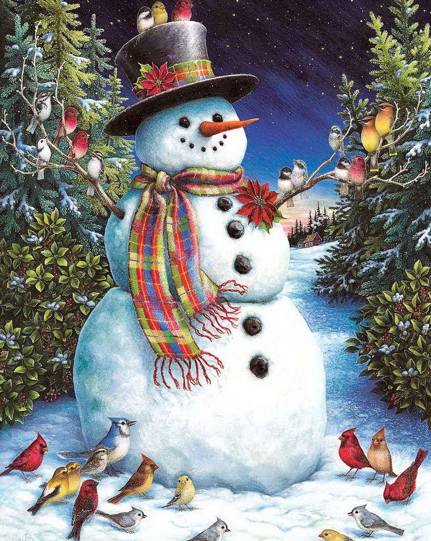 Новогодние картинки со снеговиками елками