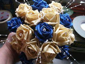 Wedding flowers brides, maids bouquet royal blue \u0026 gold