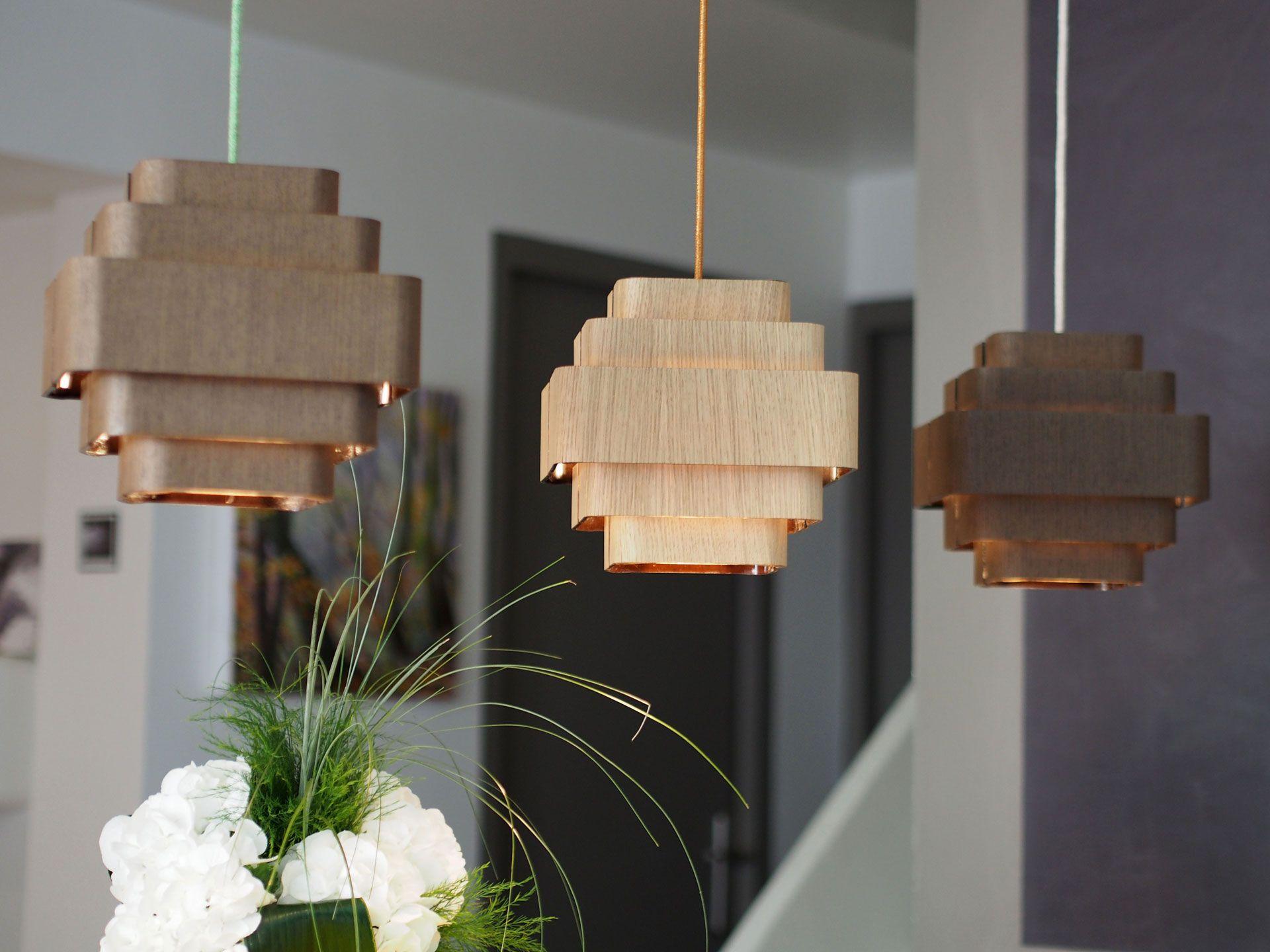 Suspensions lustres lampes suspendues bois cable textiles 7 coloris