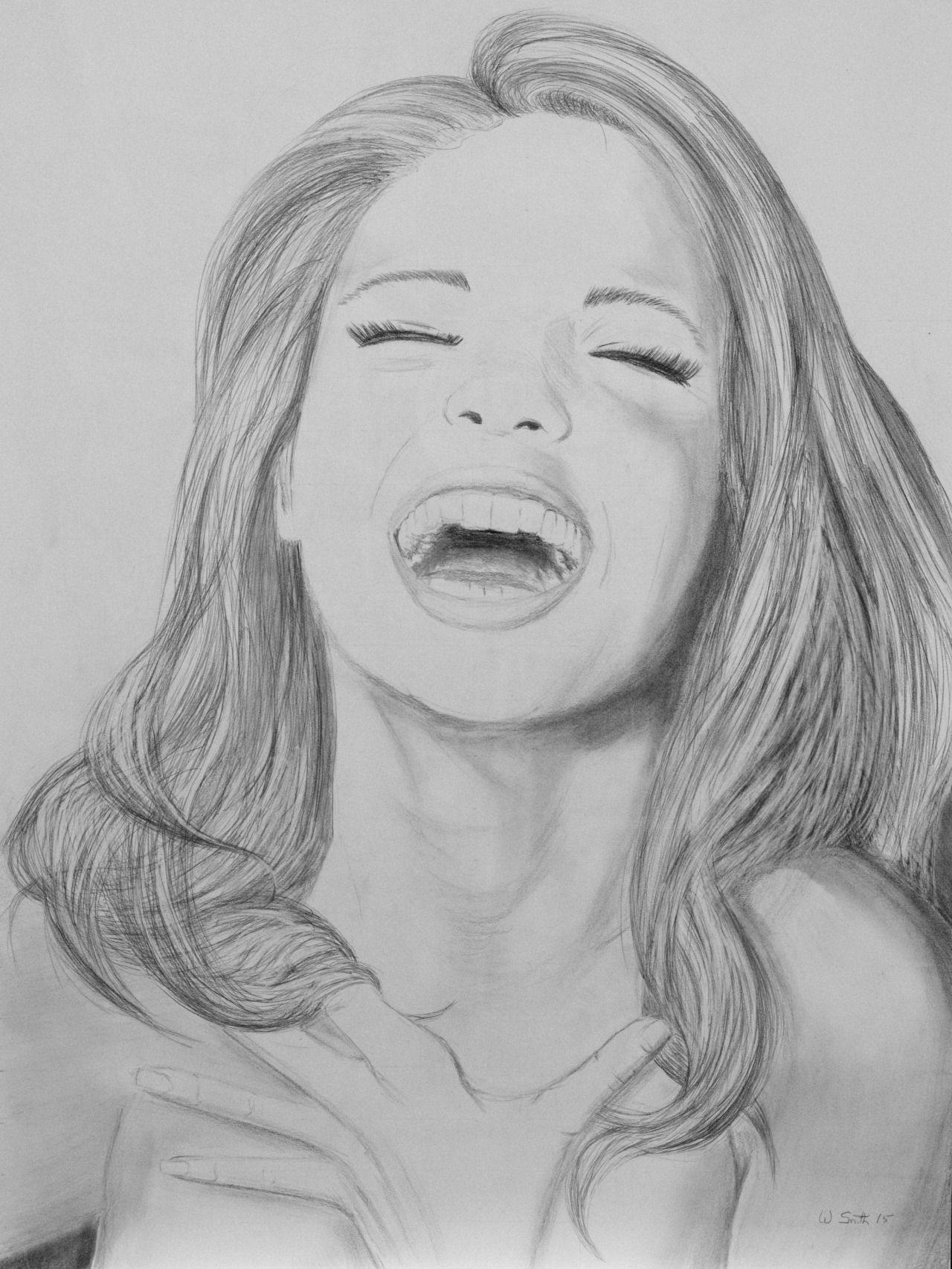 this is a graphite sketch on paper called �laughing girl