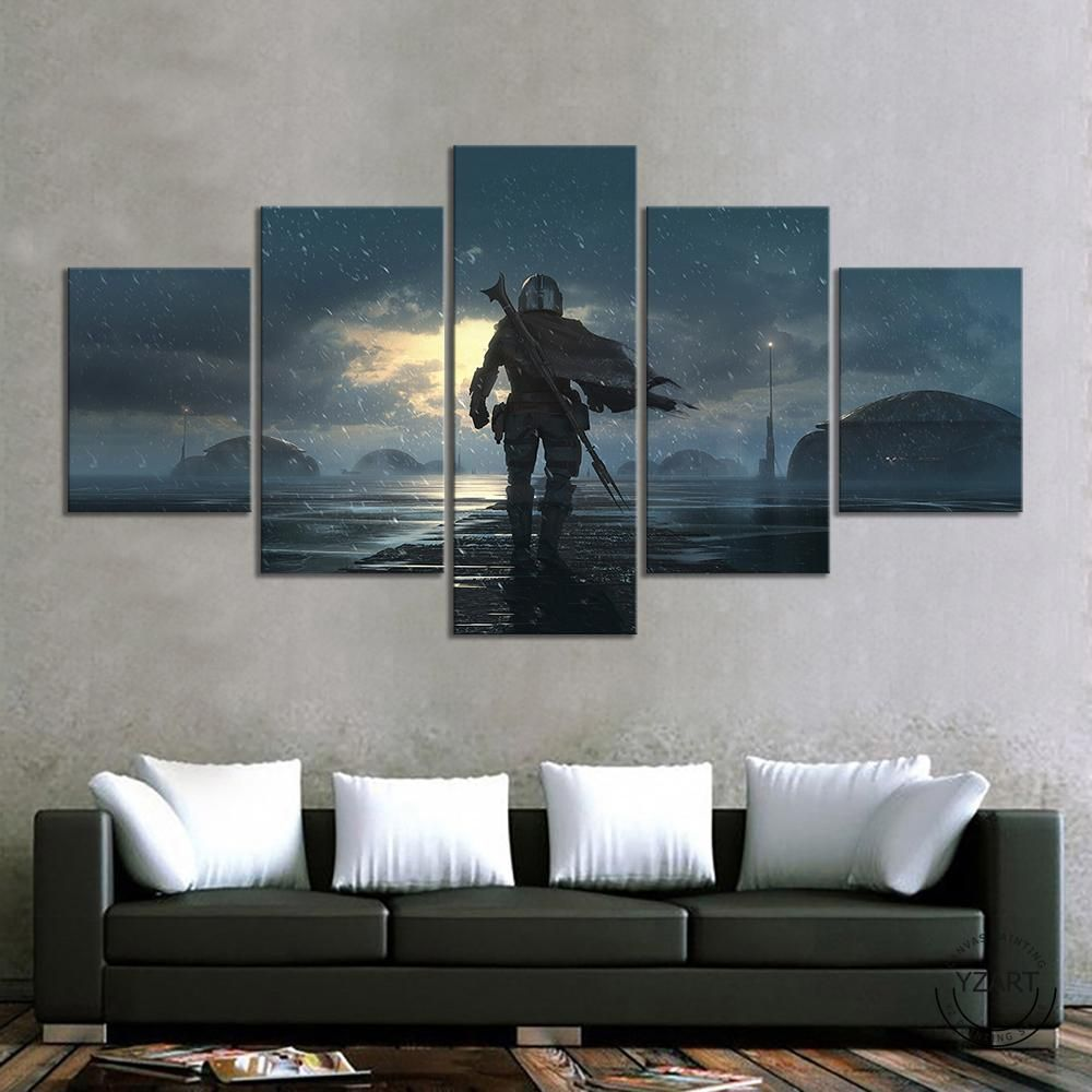 Mandalorian Star Wars 5 Panel Canvas Print Wall Art Wall Art Prints Star Wars Wall Art Canvas Print Wall