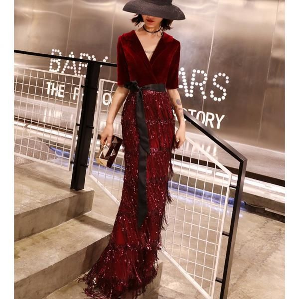 cb7cb7b788d Burgundy Mermaid Beaded Half Sleeve Velvet V-neck Prom Dresses