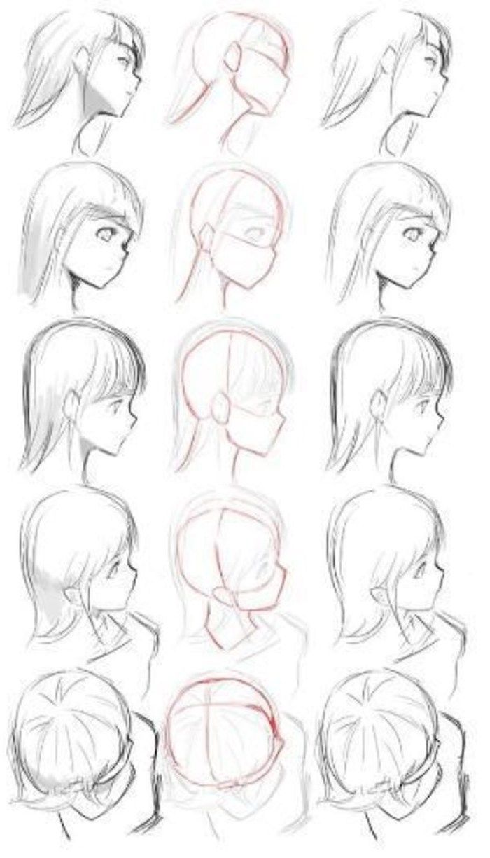 Photo of face drawing, from different angles, anime boy drawing, black and white, pencil …