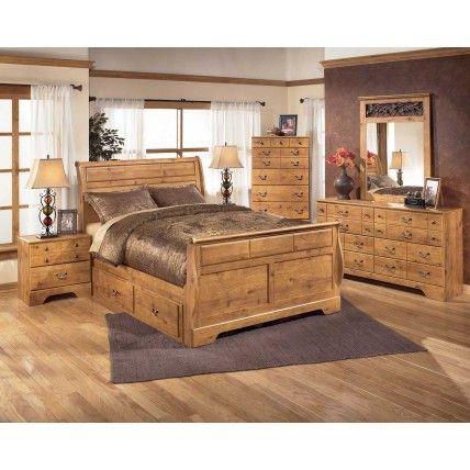 Bittersweet Sleigh Bedroom Set with Underbed Storage in Pine Grain