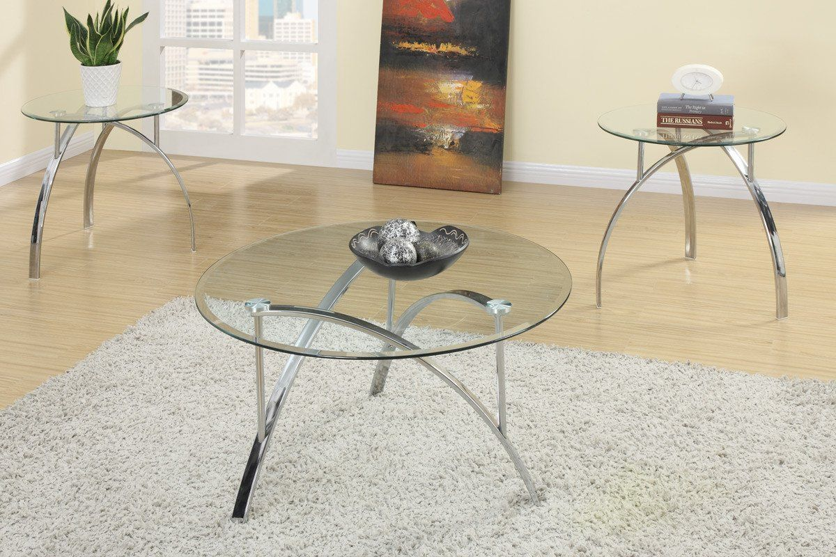 Poundex F3098 3 Pcs Coffee Table Set Coffee Table End Table Set
