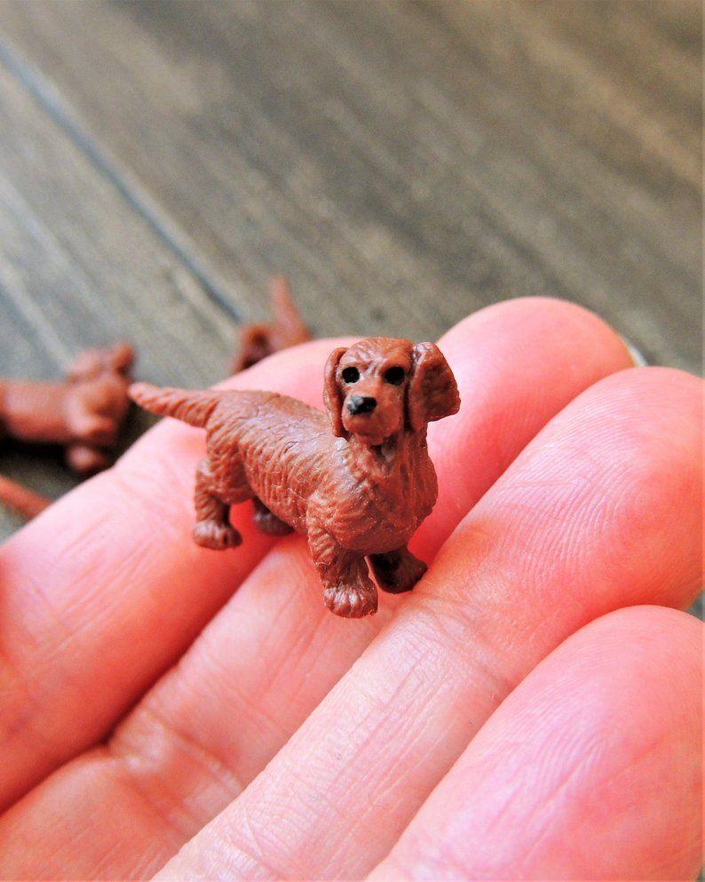 Micro Miniature Dachshund Mini Dog Animals Figure Doll House