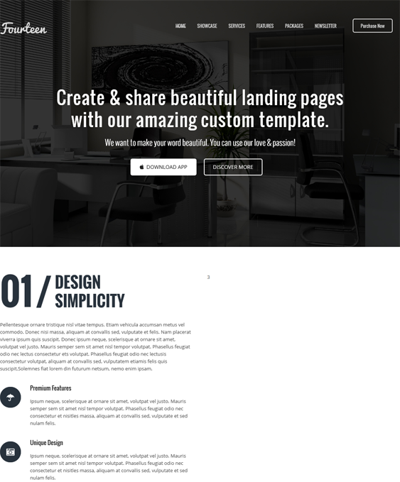 This one page WordPress theme has a responsive layout, SEO-friendly ...