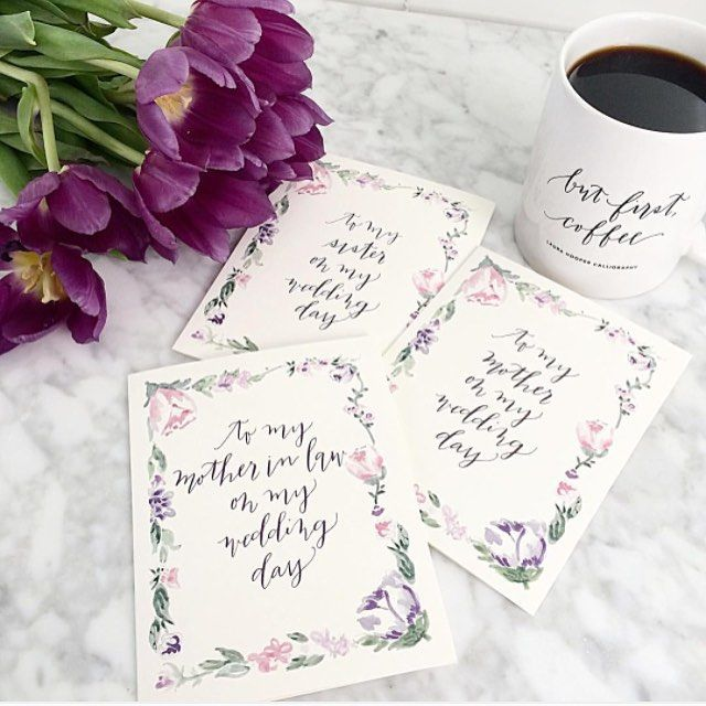 It's #nationalcoffeeday and we're so excited to share this for the #LBBregram Takeover: Morning coffee + filling Etsy orders full of our newest bridal line greeting cards that feature one of my watercolor designs + callig! @lhcalligraphy