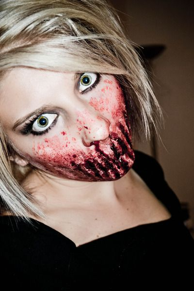 scary---Going to try and do this for a haunted house just need to - halloween horror makeup ideas
