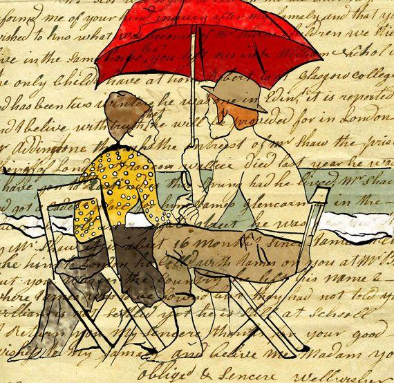 Couple, Beach umbrella illustration, Summer love wall art ...