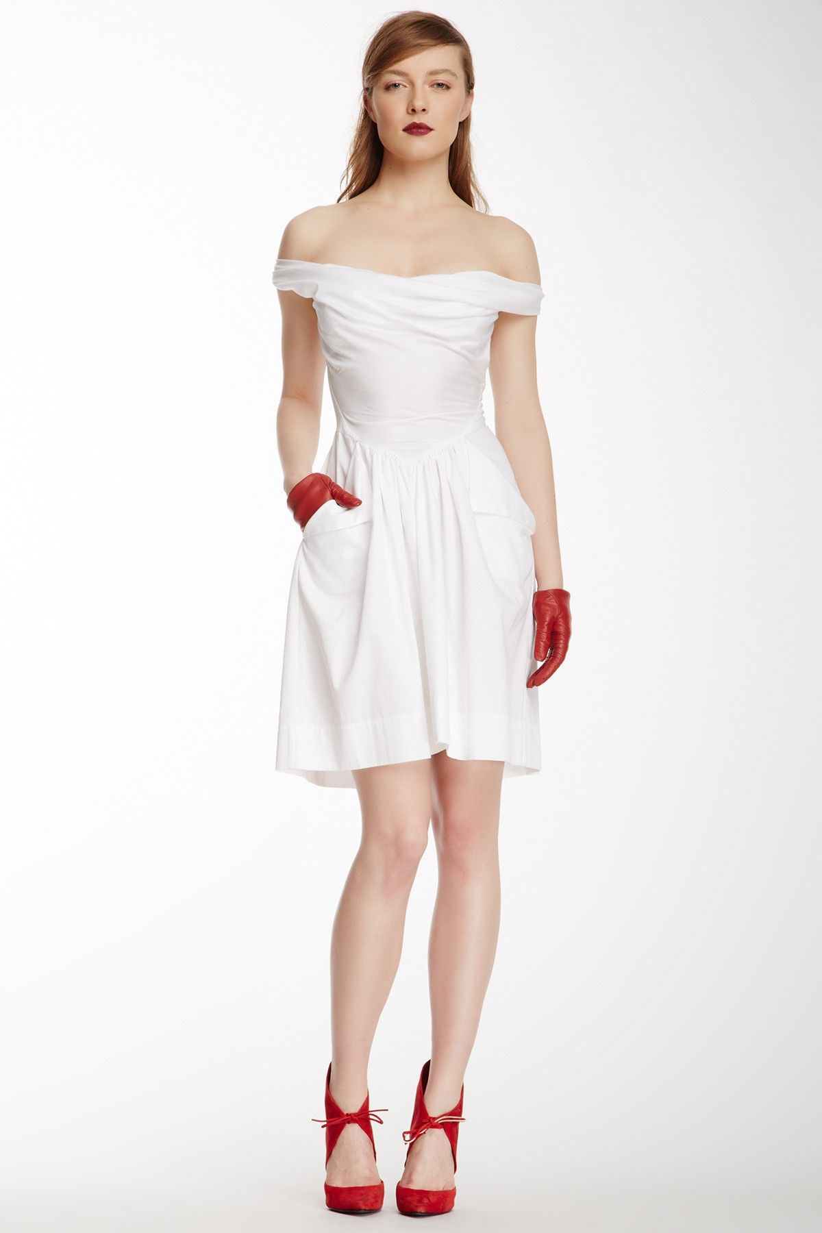 Red and white - Anglomania Marghi Pleated Pocket Dress