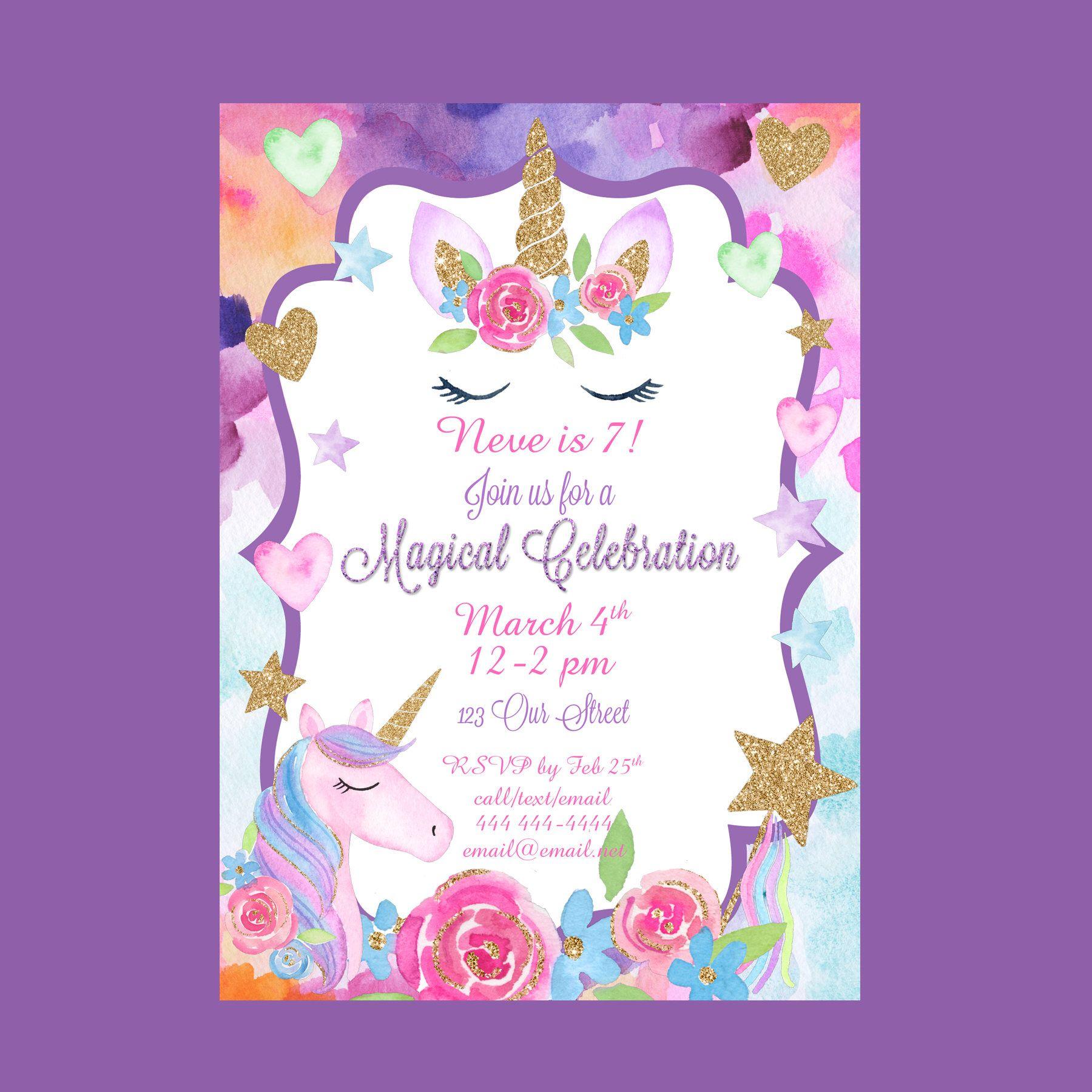 Unicorn Party Birthday Invitation Unicorn Birthday - Magical Party ...