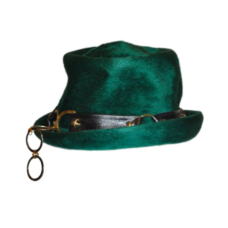 5b5aa15ac7e Yves Saint Laurent Emerald Green Wool Hat at 1stdibs | Hats in 2019 ...