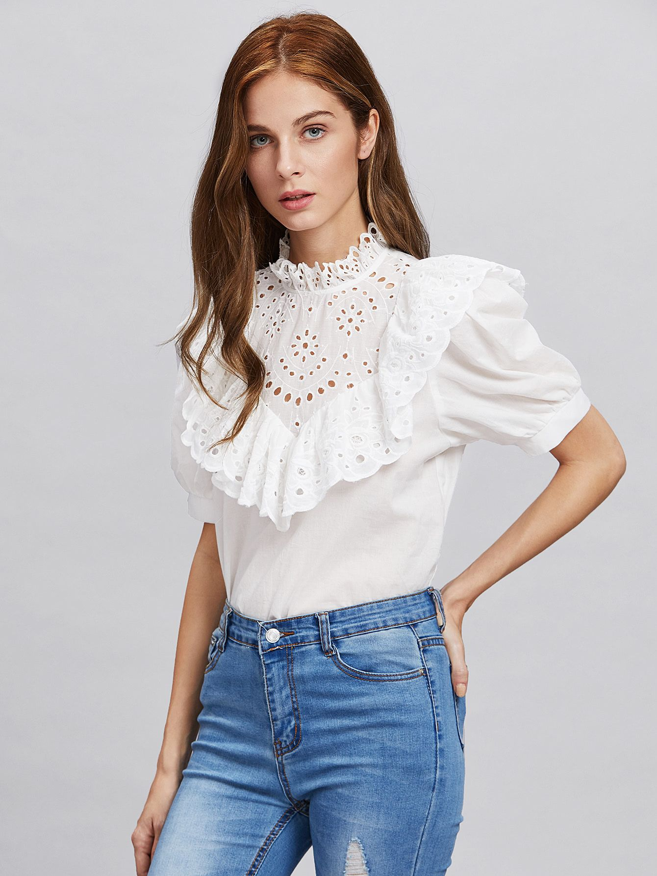 20000611cd586c http   es.shein.com Eyelet-Embroidered-Frill-
