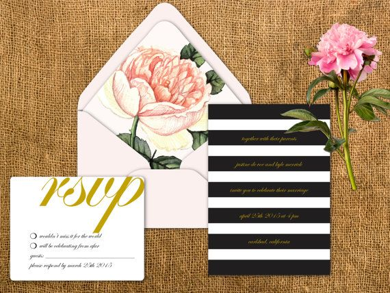 Stripes & Flower Wedding Invitation Envelope Liner by papercrew