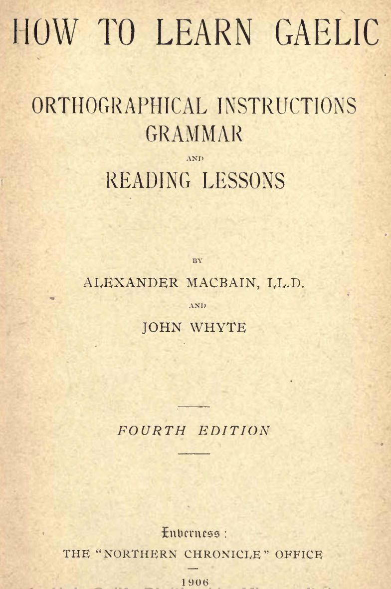 How To Learn Gaelic Circa 1906 Downloadable Book 112 Pgs