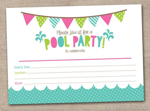 Girls Pool Party Printable Invitation Fill By InkObsessionDesigns