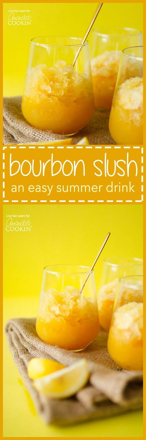 This Easy Bourbon Slush has just 5 ingredients and comes together in minutes! Just mix it, freeze it, and forget it until you're ready to enjoy!