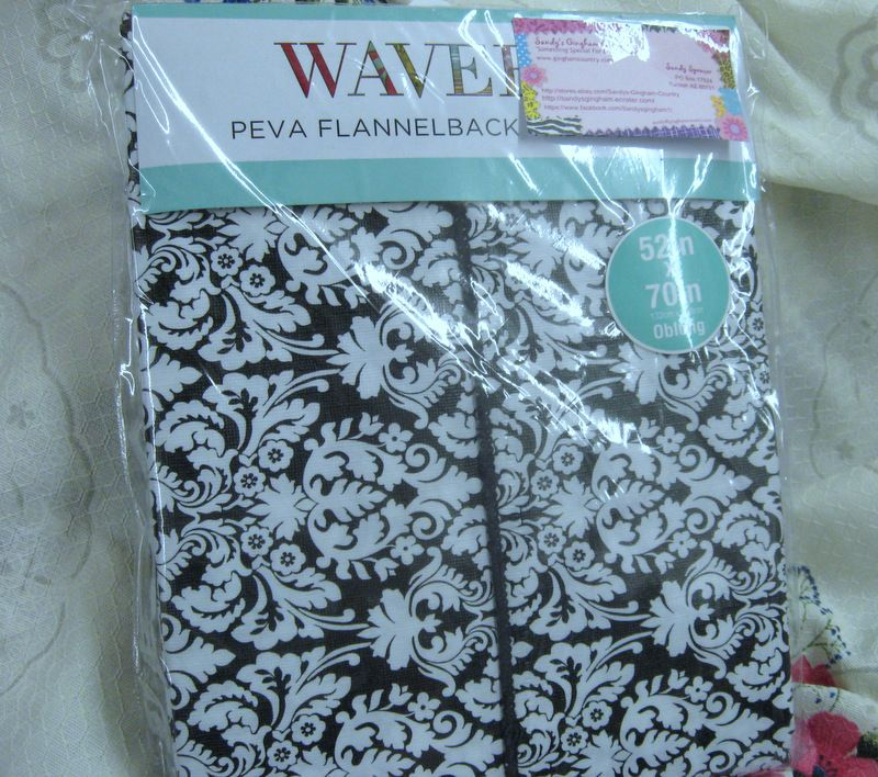 Waverly Tablecloth Black White Paisley Damask Vinyl
