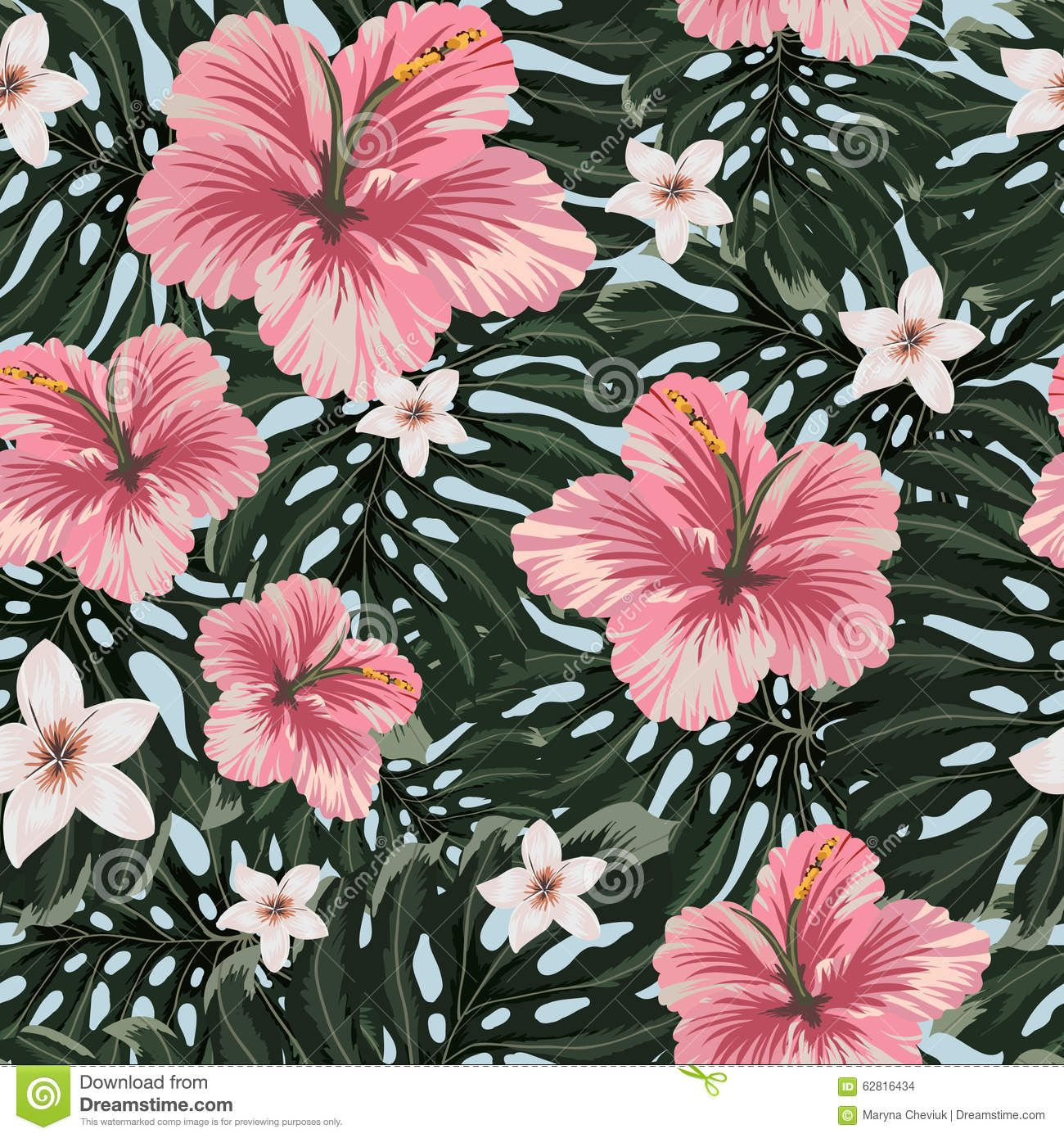 Seamless Pattern With Amazing Hawaiian Flowers Stock Illustration