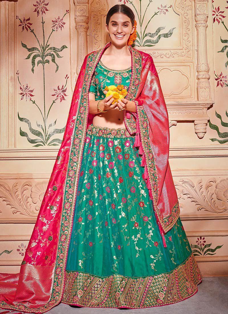 d8d12b3e9e9c Buy Rama green and pink Banarasi silk wedding lehenga choli in UK, USA and  Canada