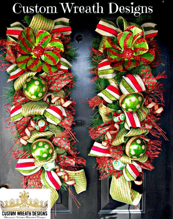 Set of Two Green and Red Whimsical Door Swags on Etsy, $145.00