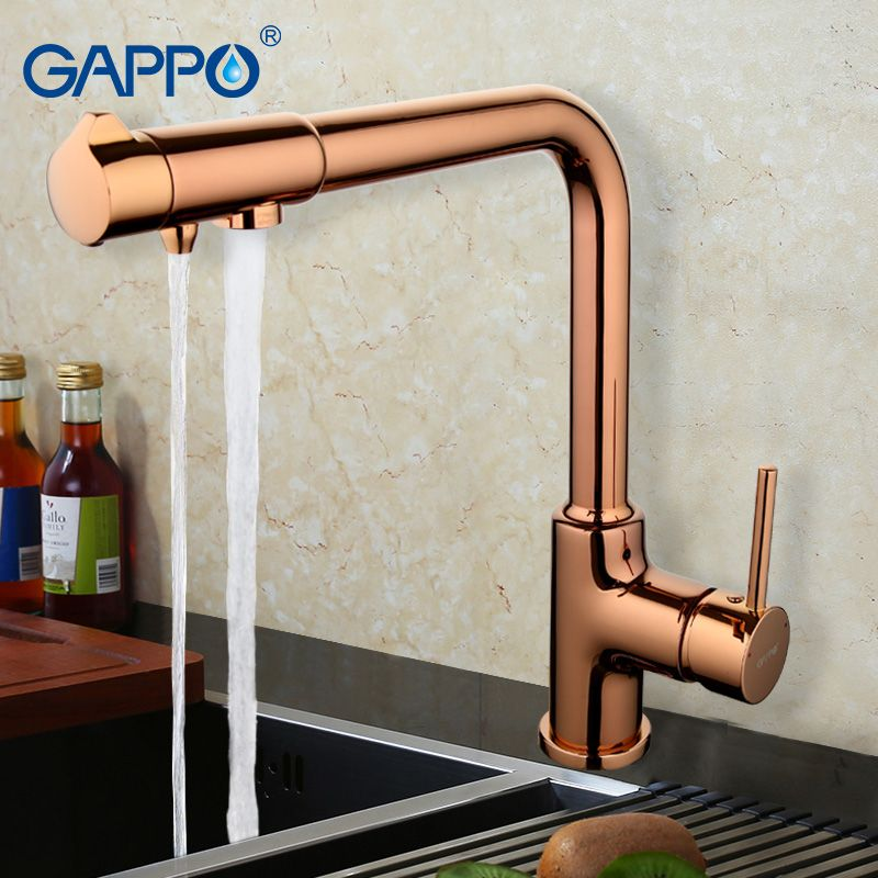 Reviews GAPPO Solid Brass Kitchen Faucet Rotary Switch Water ...