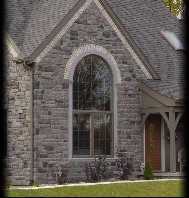 Stone Exterior Homes: Rock & Trim Work. Cultured Stone Grey