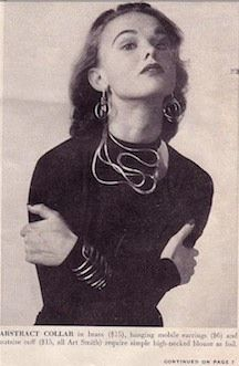 1950s photograph of model wearing Art Smith pieces.