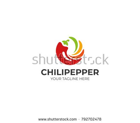 Chili pepper logo template. Spicy vegetables vector design. Food ...