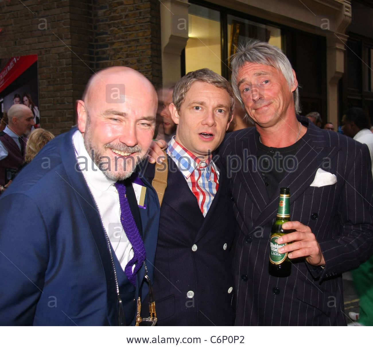 Mark Powell, Martin Freeman and Paul Weller at Mark Powell's shop-opening launch on Marshall Street.